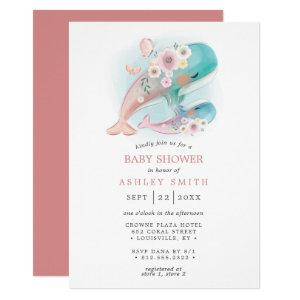 Floral Watercolor Whales Girl Baby Shower Invitation