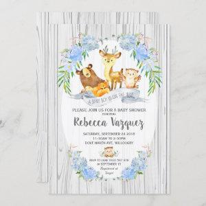 Floral Woodland Animals Baby Shower Invitation Boy