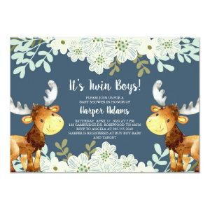 Floral Woodland Moose Twin Boys Baby Shower Invitation