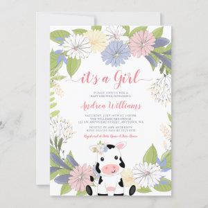 Floral Wreath Cow Girl Baby Shower