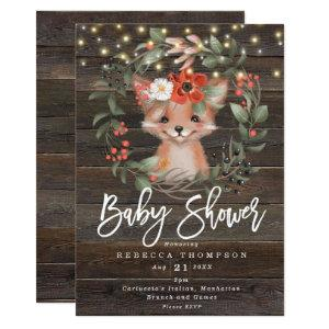 florals and cute fox boho modern baby shower invitation
