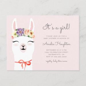 Flower Crown & Llama Girl Baby Shower Invitation Postcard
