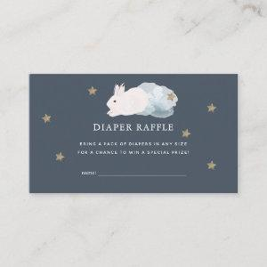 Flying Bunny Navy Baby Shower Diaper Raffle Ticket Enclosure Card