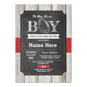 Football Baby Shower Rugby Sports Red Invite
