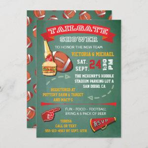 Football Tailgate Party green chalkboard Invite