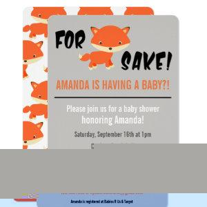 For Fox Sake! You're having a Baby?! Baby Shower Invitation