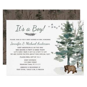 Forest Adventure Boy Bear Baby Shower By Mail Invitation