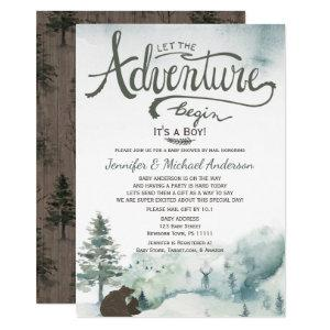 Forest Adventure Boy Bear Deer Baby Shower By Mail Invitation