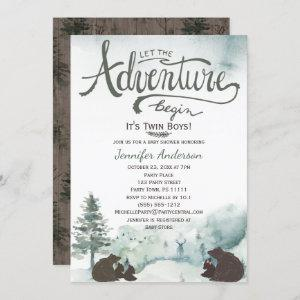 Forest Adventure Boy Country Twin Bears w/ Sister Invitation