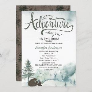 Forest Adventure Boy Country Twin Boys Baby Shower Invitation