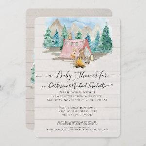 Forest Animals Deer Bear Floral Rustic Baby Shower