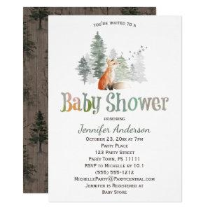 Forest Country Fox Baby Shower Invitation