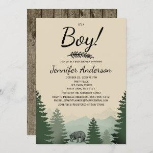 Forest Mountain Pine Country Bear Boy Baby Shower