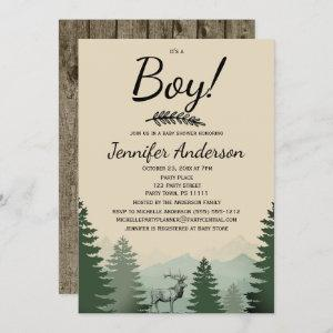 Forest Mountain Pine Country Boy Baby Shower Invitation