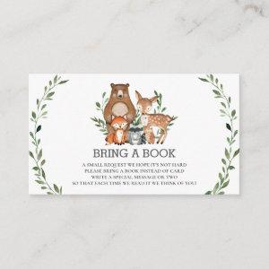 Forest Woodland Animals Greenery Books for Baby Enclosure Card