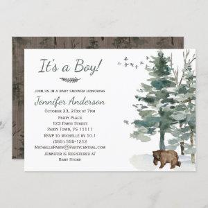 Forest Woodland Country Bear Boy Baby Shower Invitation