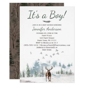 Forest Woodland Country Deer Boy Baby Shower Invitation