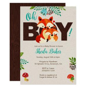 Fox Baby Shower Invitation - Baby Fox Invite Boy