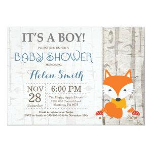Fox Boy Baby Shower Invitation Rustic Woodland