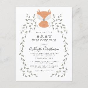 Fox Cub Rustic Woodland Baby Shower Invitation Postcard