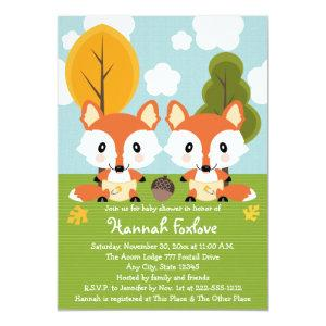 FOX TWINS IN DIAPERS BABY SHOWER INVITATION