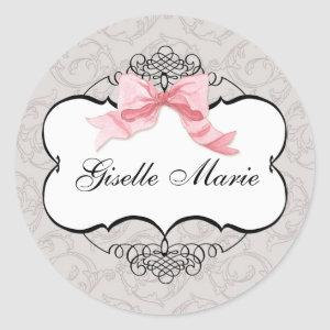 French Bow Damask Swirl, Girl Baby Shower Seal