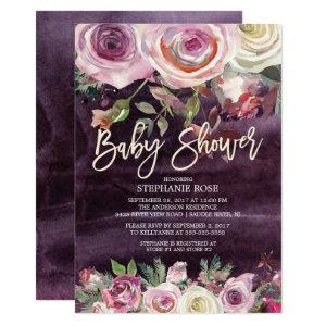Frosty Rose Purple Floral Baby Shower Invitation