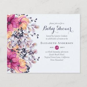 Fuchsia Ginger Floral Baby Shower Invites BUDGET