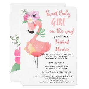 Funny cute pink flamingo baby shower virtual party invitation
