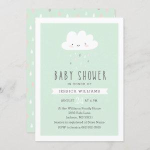 Funny Rainy Cloud Baby Shower Invitation in Mint
