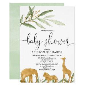 Gender neutral baby shower invitation, gold safari invitation