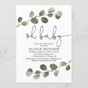 Gender neutral black white eucalyptus simple invitation