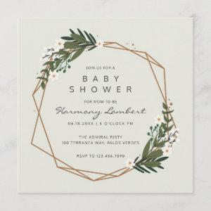 Gender Neutral Boho Geometric Greenery Baby Shower Invitation
