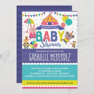 Gender Neutral Circus Baby Shower Invitation