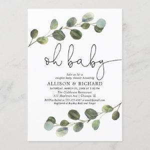 Gender neutral couples baby shower eucalyptus invitation