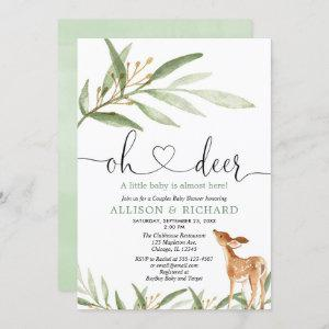 Gender neutral deer woodland couples baby shower invitation
