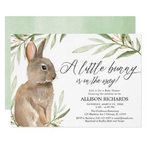 Gender neutral easter bunny greenery baby shower invitation