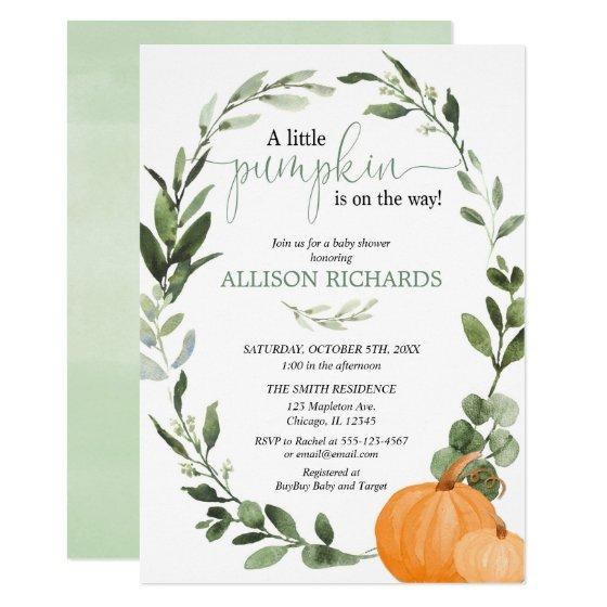 Gender neutral fall pumpkin eucalyptus baby shower invitation