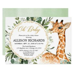 Gender neutral giraffe greenery baby shower invitation
