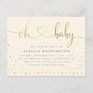 Gender Neutral Gold Calligraphy Oh Baby Shower Invitation Postcard