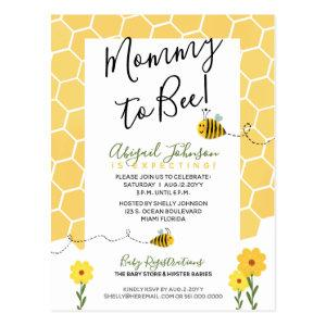 Gender-Neutral Honeycomb Mommy to Bee Baby Shower Postcard