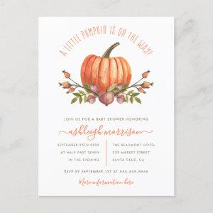 Gender Neutral Little Pumpkin Autumn Baby Shower Invitation Postcard