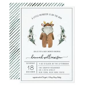 Gender Neutral | Reindeer Christmas Baby Shower Invitation