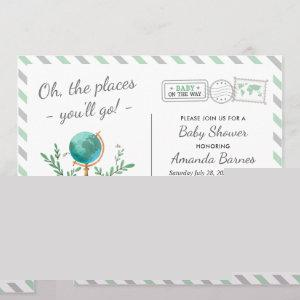 Gender Neutral Travel Adventure Mint Baby Shower Invitation