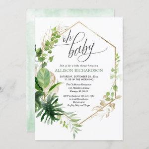 Gender neutral tropical gold greenery baby shower invitation