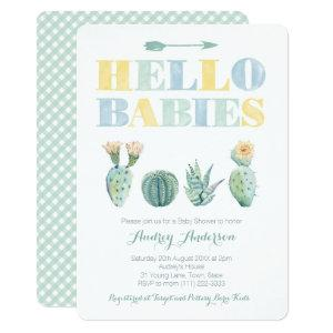Gender Neutral Twins or Joint Baby Shower Cactus Invitation
