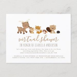 Gender Neutral Woodland Themed Virtual Baby Shower Invitation Postcard