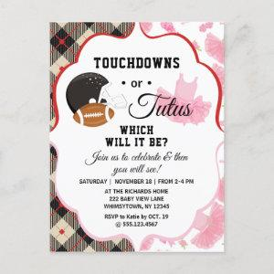Gender Reveal Baby Shower Touchdowns or Tutus Invitation Postcard