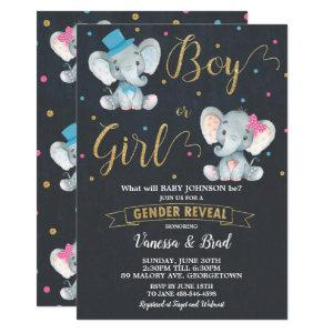 Gender Reveal Elephant Baby Gender Reveal Party Invitation