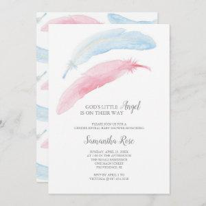 Gender Reveal Feather Invitation